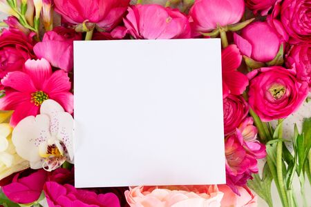 Flowers composition. Floral border background made of made of flowers. Flat lay, top view, copy space