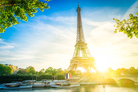 Eiffel Tower landmark from Trocadero at sunrise, Paris France, toned Stock Photo