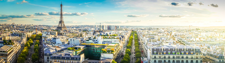 wide panorama of famous Eiffel Tower and Paris roofs, Paris France, toned Stock Photo