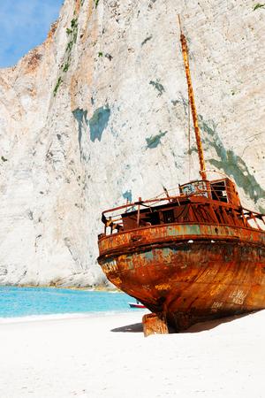 Navagio Shipwreak beach with rusty old ship close up, Zakinthos island, Greece