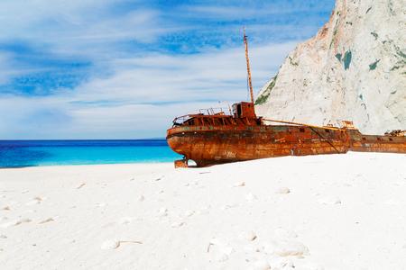 view of white sand of famous Navagio Shipwreak beach of Zakinthos island, Greece