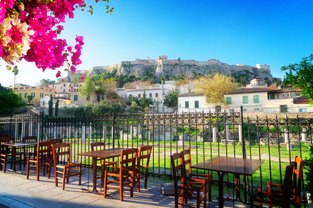 Roman Forum and Acropolis hill with street cafe, Athens Greece