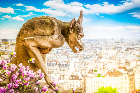 Gargoyle on Notre Dame Cathedral over Paris with magnolia flowers, France, retro toned Stock Photo