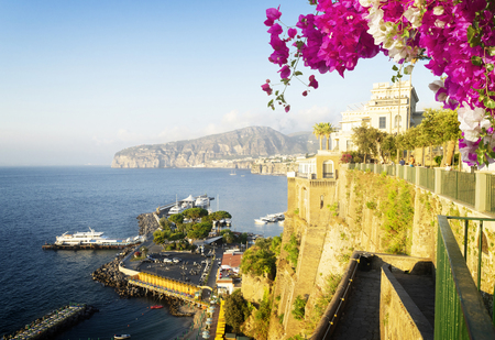 embankment and beach of Sorrento with flowers, southern Italy