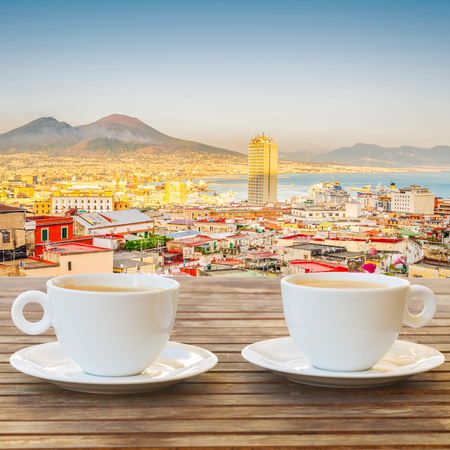 two cups of coffee with view of Vesuvius in Naples Reklamní fotografie