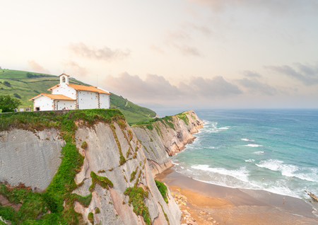 San Telmo church at Zumaia coast at sunrise, Pais Vasco Spain