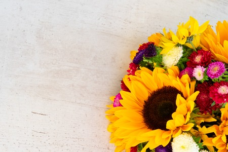 Sunflowers and aster fresh flowers on white wooden table background with copy space