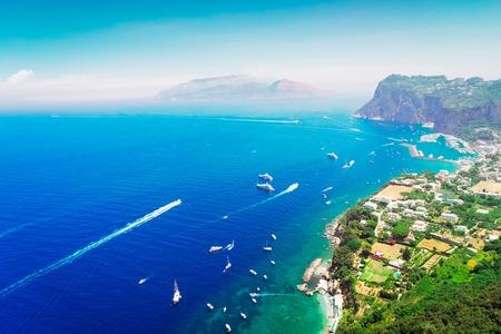 Marina Grande bay from above, Capri island, Italy, retro toned Stock Photo