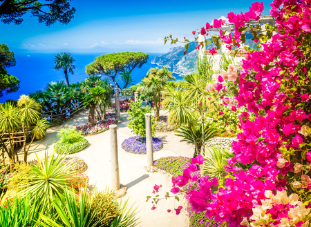 Ravello village with flowers, Amalfi coast of Italy, retro toned