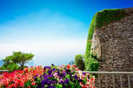 View from mount Solaro on Thyrrenian sea, Capri island, retro toned