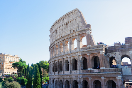 wall of ruins, famous Colosseum in Rome, Italy