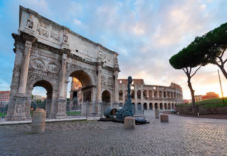 Arch of Constantine and Colosseum, antique Rome city, Italy