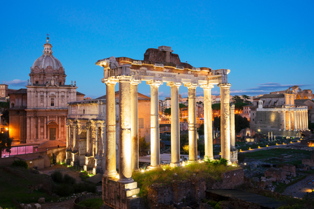 famous Roman Forum - ancient ruins in Rome at night, Italy