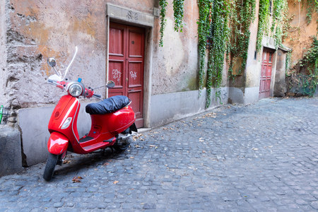 old town italian tradiotional street with byke in Trastevere, Rome, Italy