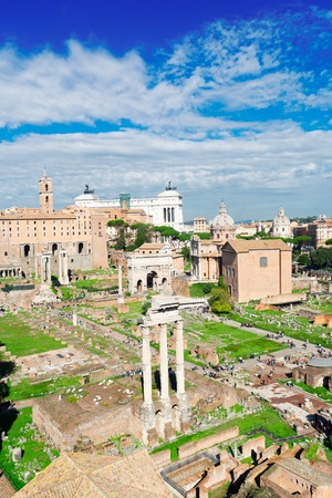 view of Forum - Roman famous ruins and Monument of Victor Emmanuel II in Rome, Italy