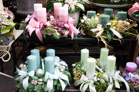 Decorated green and pink advent candles, christmas market shop in Vienna Stock Photo - 124709399