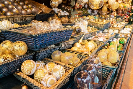 Christmas market stall details with wide choice of christmas tree decorations Banco de Imagens
