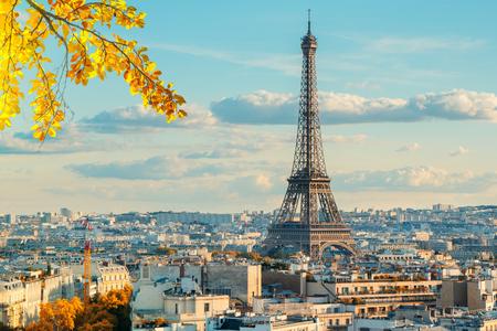 Hito icónico de la Torre Eiffel y techos antiguos de París, París Francia en otoño