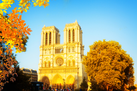 facade of famous Notre Dame cathedral at day, Paris, France at fall Фото со стока