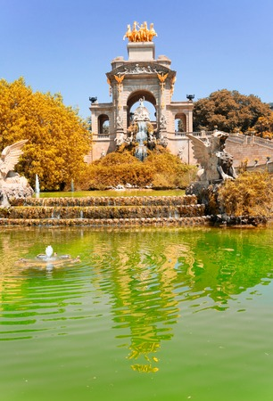 Park de la Ciutadella, famous park site of Barcelona, Spain at fall Фото со стока
