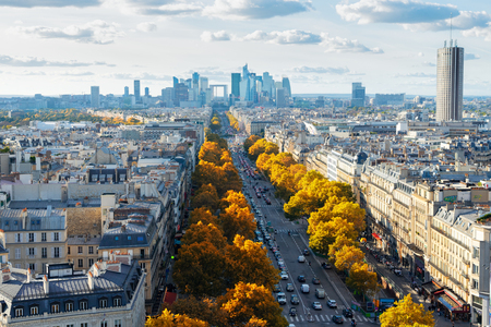 panoramic skyline of Paris towards La Defense district from above, France at fall Stock Photo