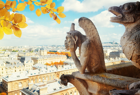 Gargoyle of Paris on Notre Dame Cathedral church and Paris cityscape from above, France at fall Stock Photo