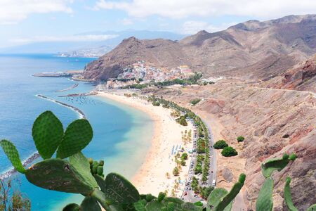 aerial view of Las Teresitas beach and San Andres village at summer, Tenerife