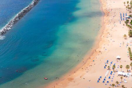 aerial view of Las Teresitas beach and water, Tenerife