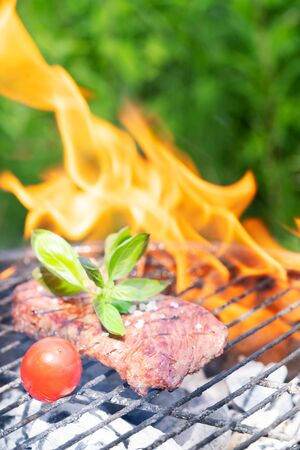 夏天肉烧烤格栅党,在格栅的牛排与火焰,夏天烤,烧烤,烧烤和室外党的概念。