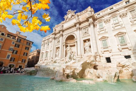 View of restored Fountain di Trevi in Rome at sunny fall day, Italy