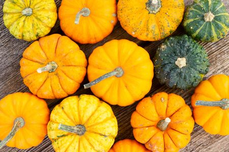 orange and green raw pumpkins on old wooden textured table, top view Imagens