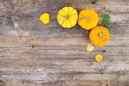 three orange raw pumpkins on old wooden textured table, top view