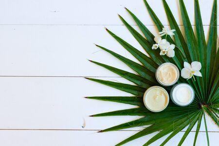 Olio di cocco e cosmetici naturali con foglie di palma verdi su fondo di legno bianco con spazio per le copie Archivio Fotografico