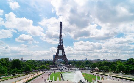 Eiffel Tower with flowing Trocadero fountains, Paris, France