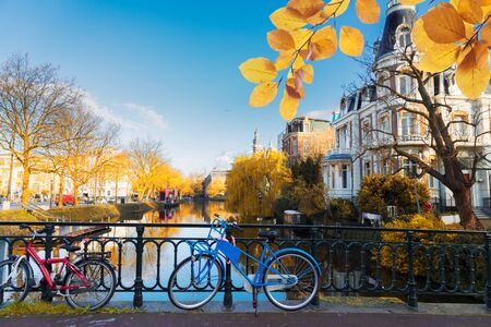 Romantic scenery with one of the canals in Amsterdam old town, Netherlands at fall Stok Fotoğraf