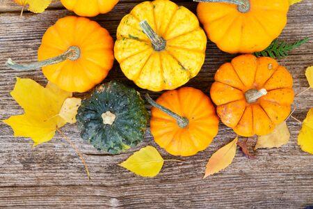 Calabazas crudas de otoño naranja sobre una mesa con textura de madera antigua, vista superior