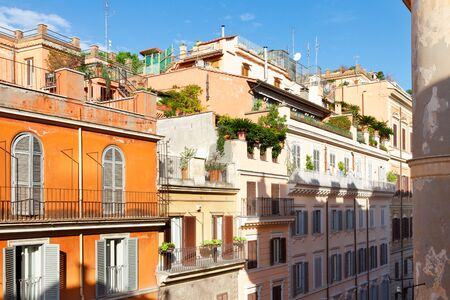 typical italian street, roofs and balcones, Rome, Italy