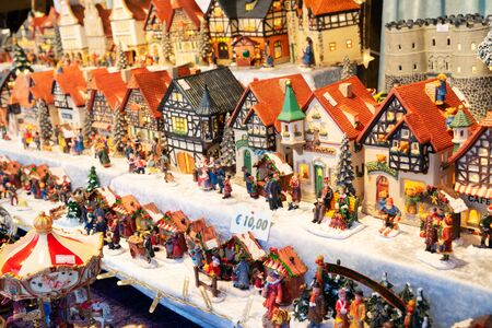 Christmas autrian market kiosk details - coloful traditional austrian houses