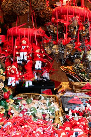 Christmas austrian market kiosk details - coloful traditional christmas decorations in red colors