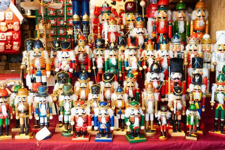 Christmas market kiosk details - traditional festive figurines decorations for sale