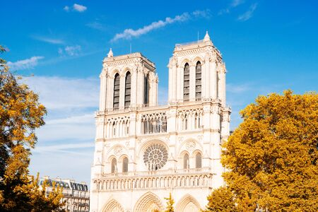 Notre Dame cathedral on Cite island over the Seine river, Paris cityscape, France at fall