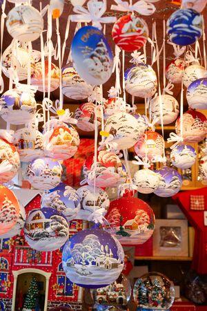 Christmas market kiosk - traditional hanging festive christmas tree decorations