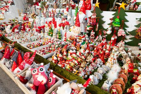 Christmas market kiosk details - traditional festive figurines decorations