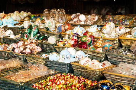 Christmas market stall details with wide choice of christmas tree decorations Stock fotó