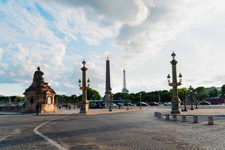 Eiffel Tower and The Obelisk from Place de la Concorde, Paris, France