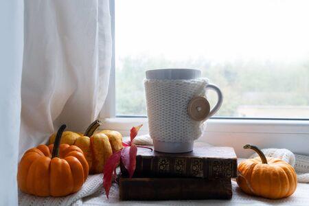 fall coffee on windowsill, autumn view in background