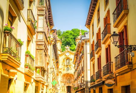 view of downtown of San Sebastian with cathedral church, Pais Vasco, Spain, toned 版權商用圖片
