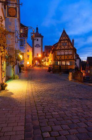 illuminated at night Plonlein Small Square in Rothenburg ob der Tauber, Germany Stock fotó