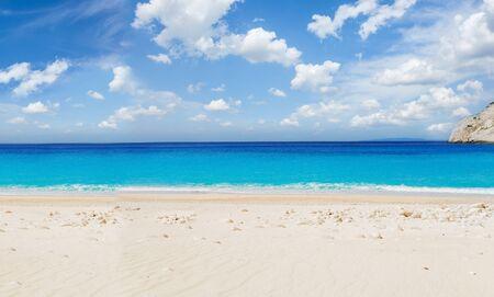 Navagio Shipwreak white sand beach and blue sky of Zakinthos island, Greece, web banner format