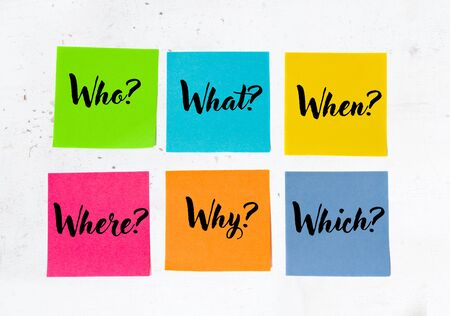 The 6 Ws who, what, when, where, why, which question on six sticky notes on weathered whitewash wood Stock Photo